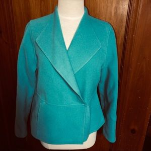 Eileen Fisher Wool Button Mixed Media Jacket XS